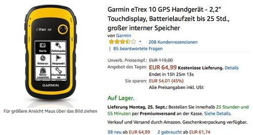 """Garmin eTrex 10 GPS Handgerät - 2,2"""" Touchdisplay - jetzt 25% billiger"""
