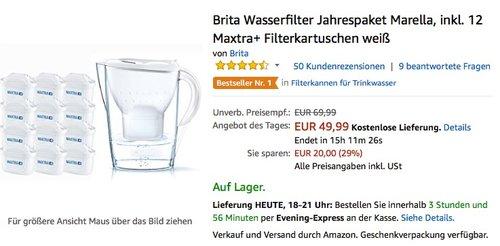 Brita Wasserfilter Jahrespaket Marella, inkl. 12 Maxtra+ Filterkartuschen weiß - jetzt 43% billiger