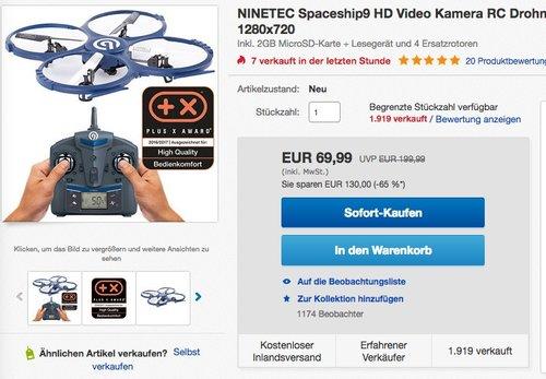 NINETEC Spaceship9 RC Drohne Video Foto und HD Kamera - jetzt 22% billiger