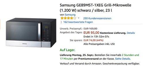 Samsung GE89MST-1XEG Grill-Mikrowelle (1.200 W) schwarz / silber, 23 l - jetzt 9% billiger