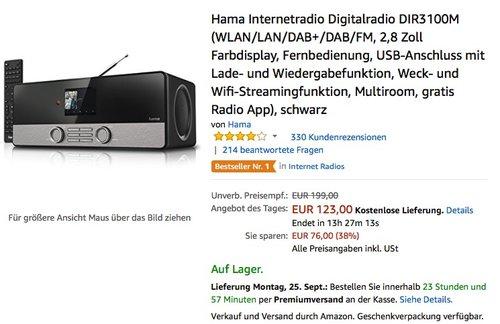 Hama Internetradio Digitalradio DIR3100M  - jetzt 19% billiger