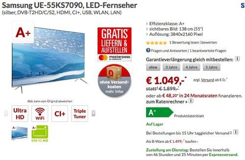 Samsung UE55KS7090 138 cm ( (55 Zoll Display) - jetzt 22% billiger