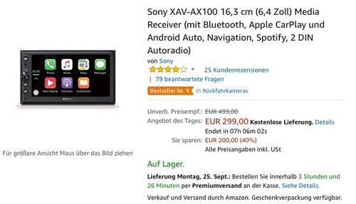 Sony XAV-AX100 16,3 cm (6,4 Zoll) Media Receiver - jetzt 16% billiger