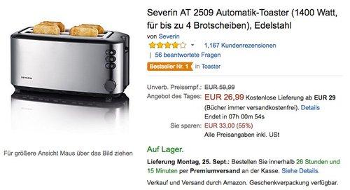 Severin AT 2509 Automatik-Toaster - jetzt 19% billiger