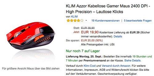 KLIM Azzor Kabellose Gamer Maus 2400 DPI - jetzt 34% billiger