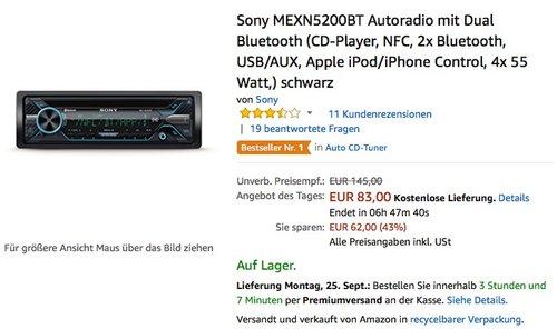 Sony MEXN5200BT Autoradio mit Dual Bluetooth - jetzt 21% billiger