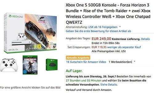 Xbox One S 500GB Konsole - Forza Horizon 3 Bundle + Rise of the Tomb Raider + zwei Xbox Wireless Controller Weiß + Xbox One Chatpad QWERTZ - jetzt 21% billiger