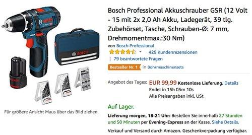 Bosch Professional Akkuschrauber GSR (12 Volt - 15 mit 2x 2,0 Ah Akku, Ladegerät, 39 tlg. Zubehörset) - jetzt 16% billiger