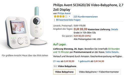 Philips Avent SCD620/26 Video-Babyphone, 2,7 Zoll Display - jetzt 19% billiger