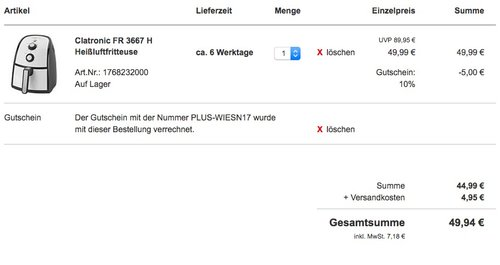 Clatronic FR 3667 H Heißluft-Fritteuse 2,2 L  - jetzt 9% billiger