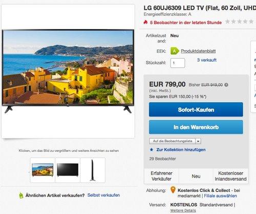 LG 60UJ6309 151 cm (60 Zoll) Fernseher (Ultra HD, Triple Tuner, Smart TV, Active HDR) - jetzt 16% billiger