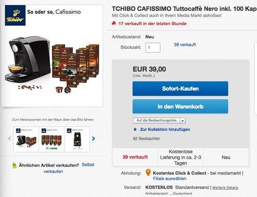 Tchibo Saeco Cafissimo Tuttocaffé Kapselmaschine - jetzt 28% billiger