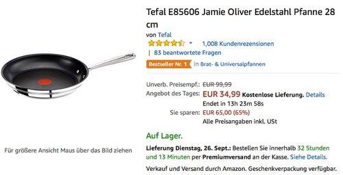 Tefal E85606 Jamie Oliver Edelstahl Pfanne 28 cm - jetzt 25% billiger