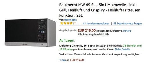 Bauknecht MW 49 SL - 5in1 Mikrowelle - jetzt 4% billiger