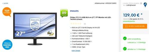 Philips 273V5LHSB/00 68,6 cm (27 Zoll) Monitor (VGA, HDMI, 1920 x 1080, 60 Hz) schwarz - jetzt 19% billiger