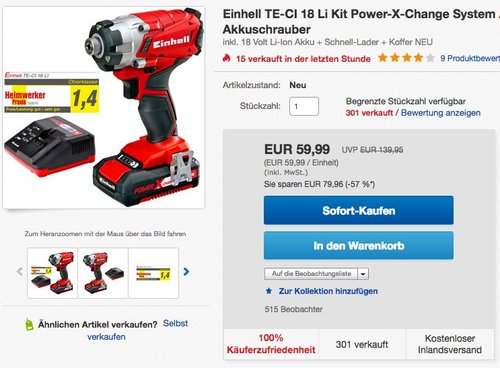 Einhell Akku Schlagschrauber TE-CI 18 Li Power-X-Change inkl. 1,5 Ah Akku und Ladegerät - jetzt 12% billiger