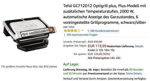 Tefal GC712D12 Optigrill plus - jetzt 10% billiger