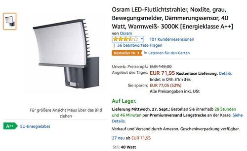 Osram LED-Flutlichtstrahler, Noxlite, grau, Bewegungsmelder, Dämmerungssensor, 40 Watt - jetzt 30% billiger