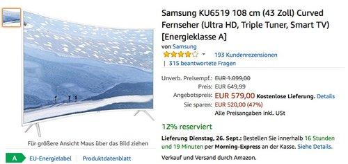 Samsung KU6519 108 cm (43 Zoll) Curved Fernseher - jetzt 14% billiger