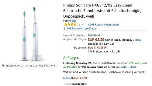Philips Sonicare HX6512/02 Easy Clean Elektrische Zahnbürste mit Schalltechnolgie, Doppelpack - jetzt 16% billiger