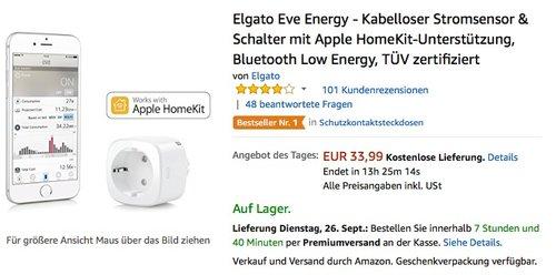 Elgato Eve Energy - Kabelloser Stromsensor & Schalter mit Apple HomeKit-Unterstützung - jetzt 18% billiger