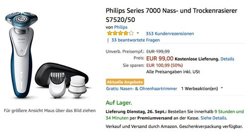 Philips Series 7000 Nass- und Trockenrasierer S7520/50 - jetzt 16% billiger