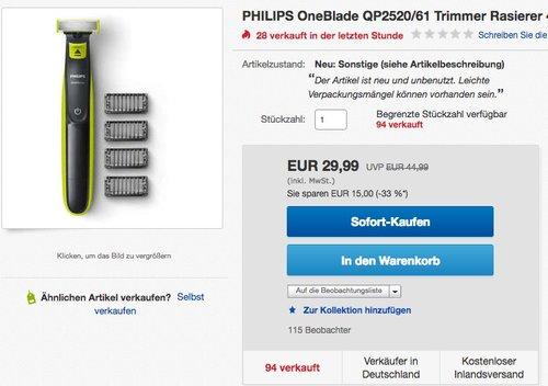 PHILIPS OneBlade QP2520/61 Trimmer Rasierer - jetzt 29% billiger