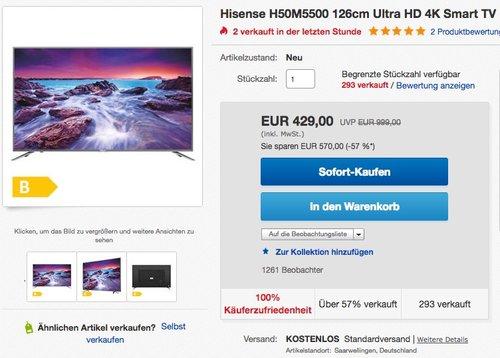 Hisense H50M5500 126 cm ( (50 Zoll Display) 4K Fernseher - jetzt 14% billiger