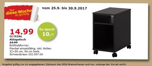 IKEA OLTEDAL Ablagetisch, 32x50 cm, 54 cm hoch, schwarzbraun - jetzt 40% billiger