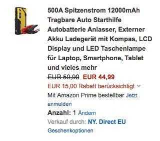 500A Spitzenstrom 12000mAh Tragbare Auto Starthilfe Autobatterie Anlasser - jetzt 25% billiger