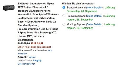 Mpow 16W Treiber Bluetooth 4.0 Tragbare Lautsprecher IPX5 Wasserdicht - jetzt 25% billiger