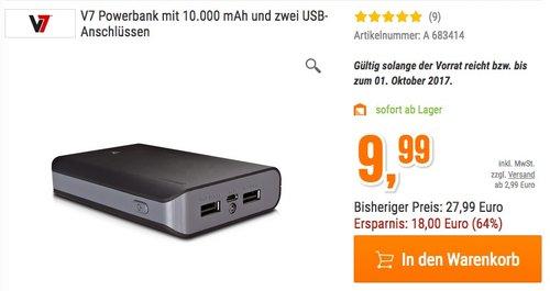 V7 Powerbank mit 10.000 mAh und zwei USB-Anschlüssen  - jetzt 44% billiger