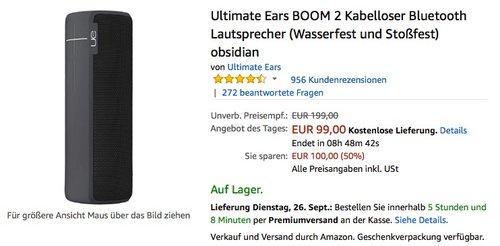 Ultimate Ears BOOM 2 Kabelloser Bluetooth Lautsprecher  - jetzt 24% billiger