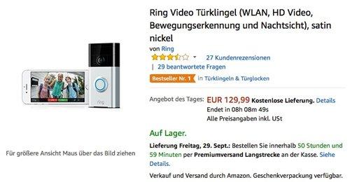 Ring Video Türklingel (WLAN, HD Video, Bewegungserkennung und Nachtsicht), - jetzt 36% billiger