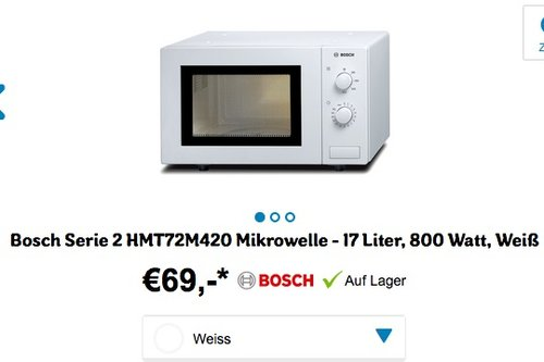 Bosch HMT72M420 Serie 4 Mikrowelle, 17 L, 800W - jetzt 12% billiger