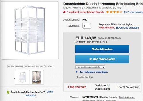 Schulte Duschkabine Sunny Eckeinstieg 2-teilig Echtglas - jetzt 25% billiger
