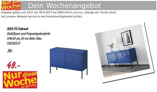 IKEA PS Schrank, 119x40 cm, 63 cm hoch, blau - jetzt 38% billiger