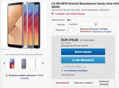 LG G6 H870 Android Smartphone  - jetzt 8% billiger