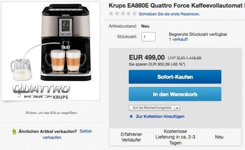 Krups EA880E Kaffeevollautomat One-Touch-Cappuccino - jetzt 14% billiger