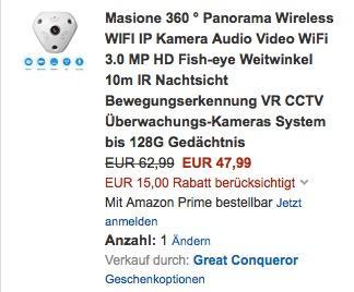 Überwachungskamera Masione 360 ° Panorama Wireless WIFI IP Kamera - jetzt 24% billiger