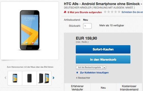 HTC ONE A9S Smartphone 12,7 cm (5 Zoll) Display 32GB - jetzt 16% billiger