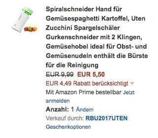 Spiralschneider Hand für Gemüsespaghetti  - jetzt 45% billiger