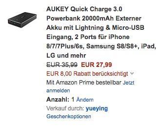 AUKEY Quick Charge 3.0 Powerbank 20000mAh - jetzt 22% billiger