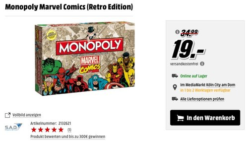 Monopoly Marvel Comics (Retro Edition) - jetzt 36% billiger