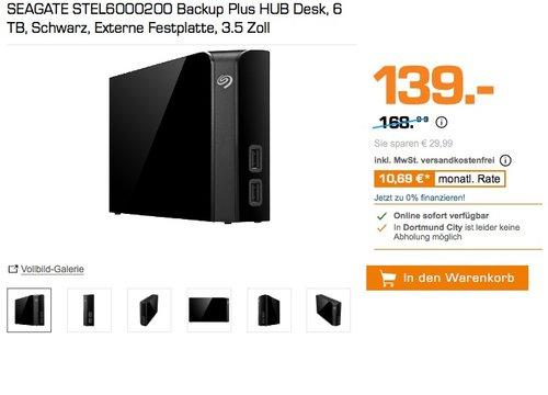 Seagate Backup Plus HUB STEL6000200 6TB Externe Desktop Festplatte  - jetzt 11% billiger