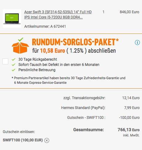 Acer Swift 3 (SF314-52-535U) 35,6 cm (14 Zoll Full-HD IPS) Ultrabook - jetzt 9% billiger