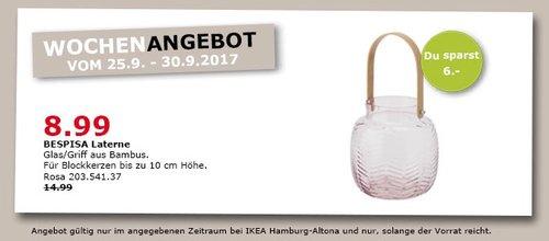 IKEA BESPISA Laterne, rosa - jetzt 40% billiger