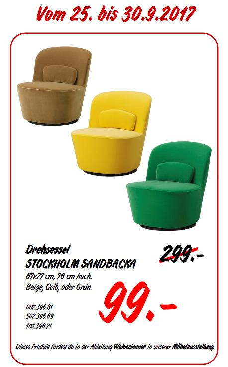 IKEA STOCKHOLM SANDBACKA Drehsessel, 67x77 cm - jetzt 67% billiger