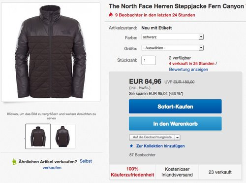 The North Face Herren Steppjacke Fern Canyon - jetzt 15% billiger