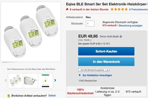 3er-Set BLUETOOTH Smart Elektronikheizkörper-Thermostat mit App-Steuerung - jetzt 9% billiger